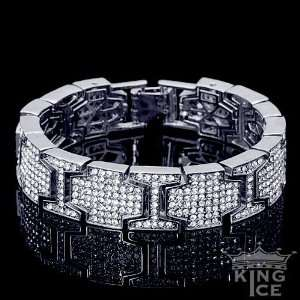 Silver Plated Mens Cubic Zirconia Hip Hop Fashion Bracelet Jewelry