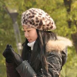 Girls Cap Leopard Brown Print Artist Beret Ladys/womens fashion Hat