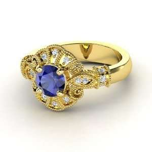 Chantilly Ring, Round Sapphire 14K Yellow Gold Ring with