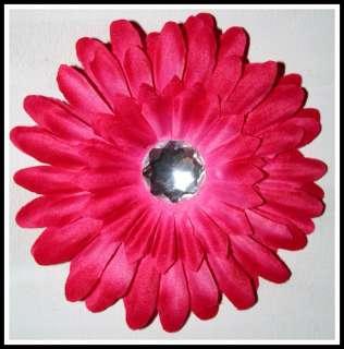 RHINESTONE GERBER DAISY FLOWER W/CLIP BOW SHOCK PINK
