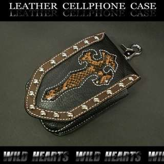 Black Leather with Python Cross Gothic Smartphone, iPhone Case