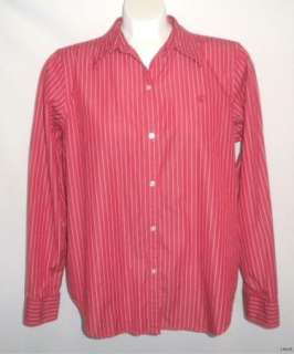 CHAPS  Stylish Red & White Striped Shirt, Size Large