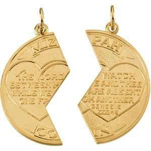 14 Karat Yellow Gold Miz pah Coin Pendant Diamond Designs