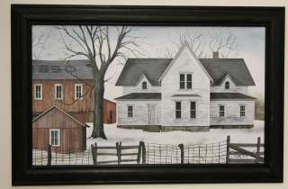Billy Jacobs snow house farm tree fence landscape picture framed
