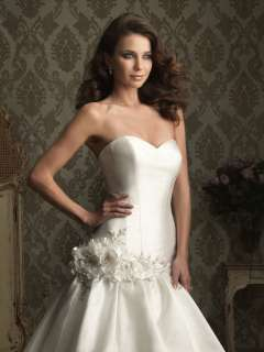 Satin Flower Wedding Dress Bridal Gown Bead Sz Free New Cheap