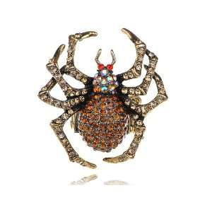 Metal Tone Light Topaz Crystal Rhinestones Spider Bug Adjustable Ring