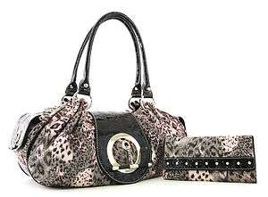 Donny Cheetah Print Toggle Purse Wallet SET   BLACK