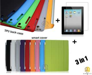 IN 1 Slim Leather Smart case Cover +TPU back case +screen protector
