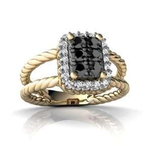 14K Yellow Gold Black Diamond Rope Ring Size 7 Jewelry