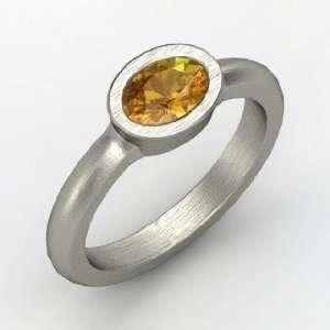 Byzantium Ring, Oval Citrine Platinum Ring Jewelry