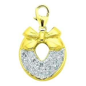 14K Yellow Gold Diamond Wreath Charm: Jewelry