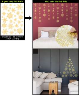 CHRISTMAS Decor Art Wall Window Sticker SNOW (GOLD)