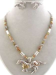 SILVER GOLD BRONZE BEADED NECKLACE EARRING SET WILD HORSE SOUTHWESTERN