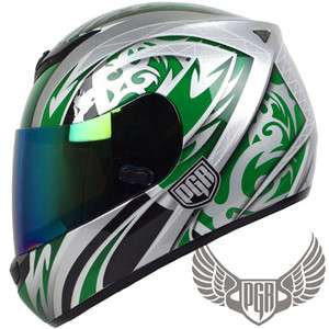 PGR ARROW Green Silver Full Face DOT APPROVED motorcycle Helmet ZX GSR