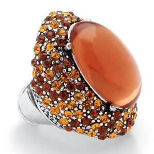 Jewelry Silvertone Metal Amber Colored Crystal Stretch Ring Jewelry