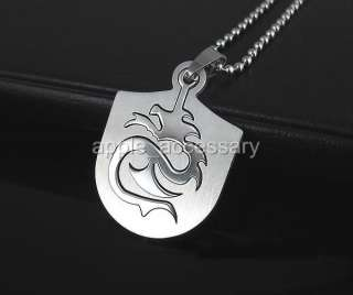HZ3814 Males Stainless Steel Big Dragon Shield Necklace