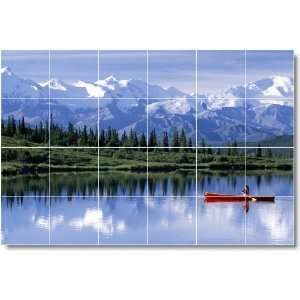 Lake Scene Shower Tile Mural L053  32x48 using (24) 8x8