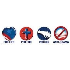 Pro Life Pro God Pro Gun Anti Obama Bumper Sticker