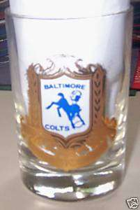 RARE 1960s Baltimore Colts NFL Football Logo Glass