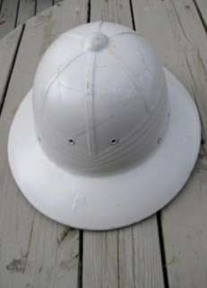 This is a white safari jungle helmet or hard hat.