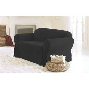 3 Pieces Solid Black Suede Couch/sofa Cover with Loveseat