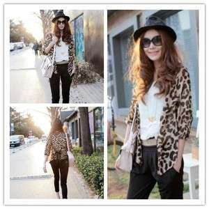Womens Leopard Shirt Half sleeve see through Top Chiffon Blouse T1