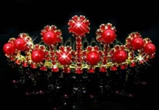 BRIDAL WEDDING JEWELRY HAIR COMB CLIP RED CRYSTAL FAUX PEARL GOLDEN