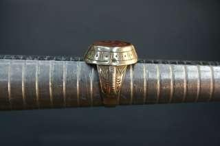 RED CARNELIAN ISLAMIC ARABIC SCRIPTURE MUGHAL SEAL .925 SILVER RING