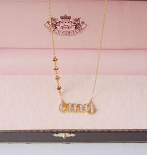 Auth Juicy Couture Crystal Pave OMG Gold Tone Necklace