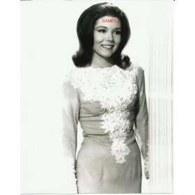 The Avengers Diana Rigg Nice Dress with Lace Smiling 8x10