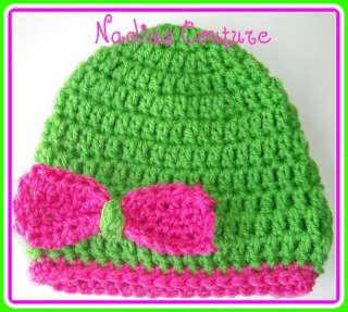 Crochet girls beanie/cloche hat spring green bcmm
