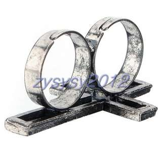 Adjustable Vintage Retro Silver Cross Two Finger Double Ring Gift