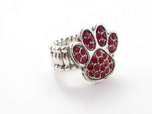 Red Paw Print Crystal Stretch Ring Fashion Jewelry
