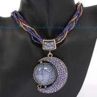 Moon Shape Purple Acryl Stone Crystal Pendant Chains Necklace