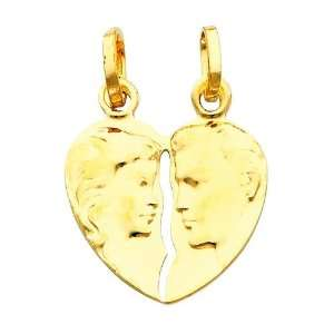 14K Yellow Gold Broken Heart Charm Pendant GoldenMine