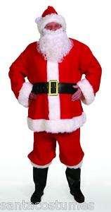 Plush 10 pc Santa Claus Suit Costume   Large (L 42 48)