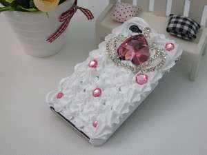 3D Cute Cake Bling Pink Crown Crystal Case Cover for iPhone 4 4S Black