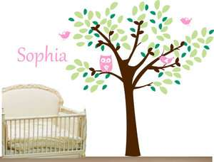 Cute Owl Birds Tree And Your Baby Name Vinyl Wall Paper Decal Art