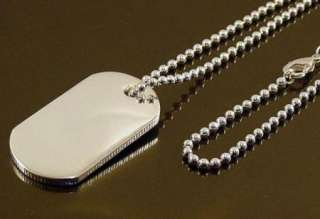 SALE SILVER PLATED DOG TAG PENDANT NECKLACE D32