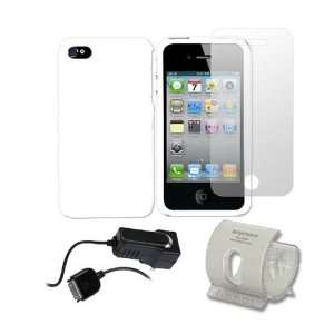 For iPhone 4 White Hard Case LCD Film Travel Charger
