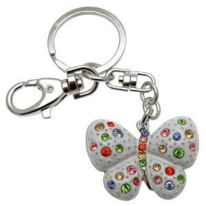 Acosta Jewellery   Multi Coloured Crystal   White Butterfly Bag Charm