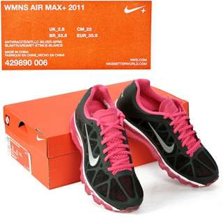NIKE WOMENS AIR MAX+ 2011 grey pink running shoe Sz 5.5