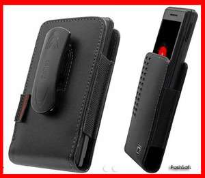 Leather Holster Case Pouch Cover for Samsung Galaxy R + Z; Black +Belt