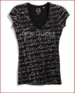 NEW G BY GUESS DEBRA RHINESTONE LOGO TEE BLACK SIZE XL