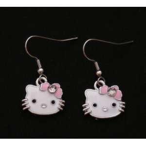 Hello Kitty Pink Bow w/ Crystal Accents Dangling Charm Silver Tone