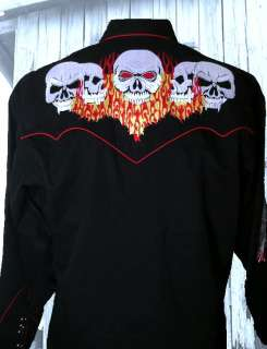 6769 Flaming Embroidered Skull Rockmount Western Punk Cowboy Shirt Med