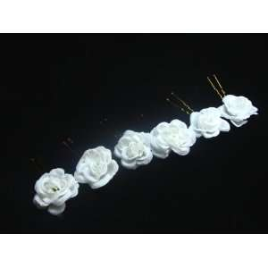 Small White Rose Flower Hair Pins   Set of 6 Everything
