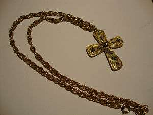 Tortolani gold tone large cross pendant necklace chain wire designer
