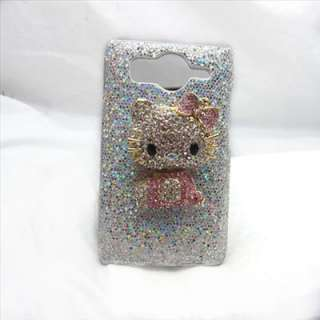 Bling Rhinestone hello kitty white Case Cover For HTC Desire HD