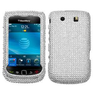 RIM BLACKBERRY TORCH 9800 9810 4G RHINESTONE CASE SOLID SILVER